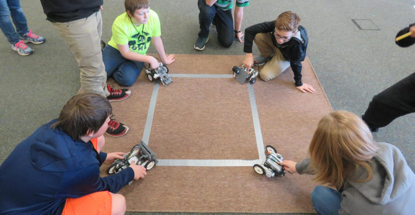 TKMS students put their robots to the test in a Battle of the Bots competition.