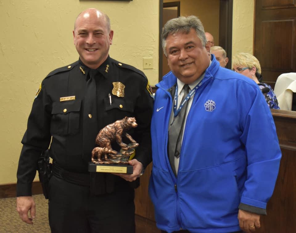 White Settlement ISD Superintendent Frank Molinar recognized White Settlement Police Chief JP Bevering and his officers for their continued involvement and support the district's crisis and safety plans and community outreach events.