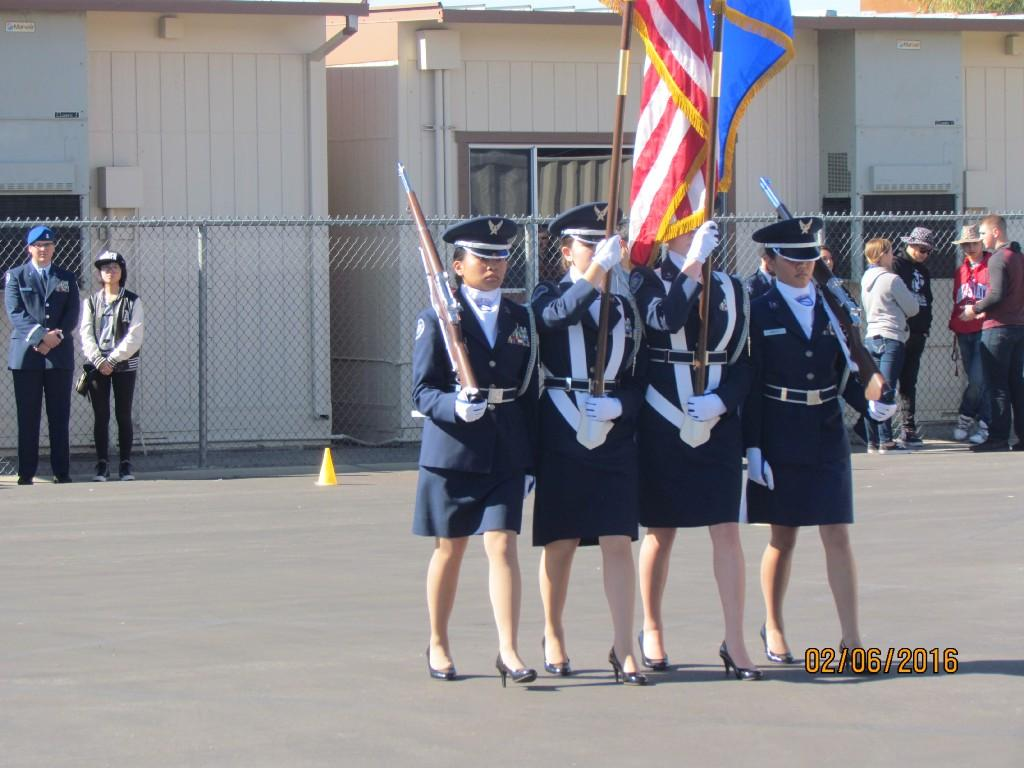 San Jacinto High School Color Guard performing their act