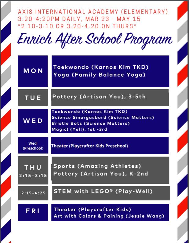 Enrich Elementary & Preschool Spring Session Catalog