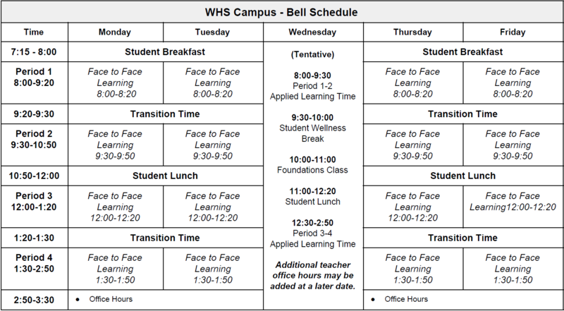 WHS Campus Bell Schedule