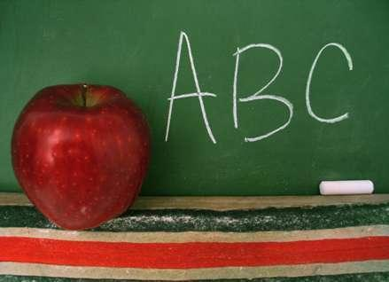 Apple and Chalkboard Graphic