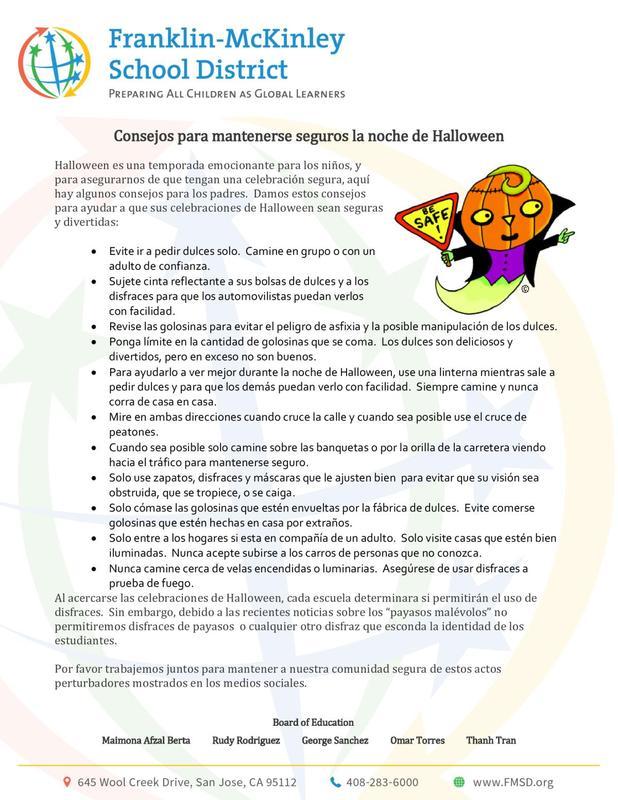 halloween safety tips spanish