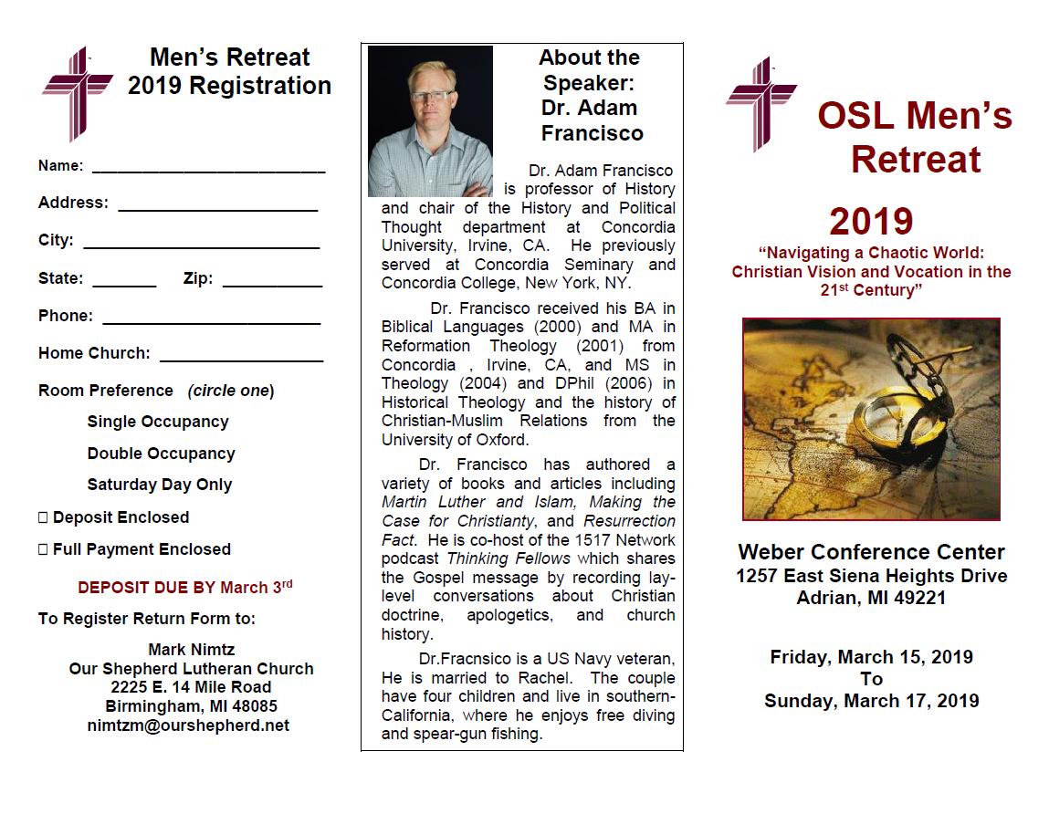 2019 Our Shepherd Lutheran Men's Retreat – Men's Ministries