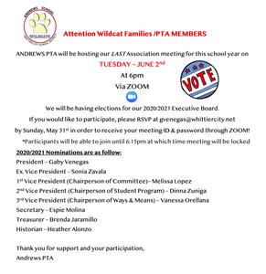 PTA flyer for Executive Elections