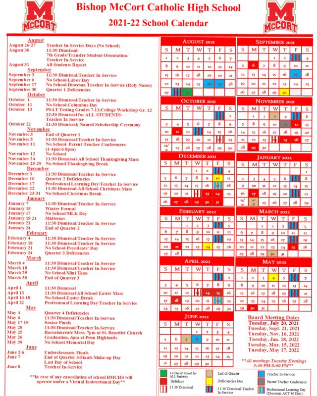 Bishop McCort 2021-22 School Calendar Thumbnail Image