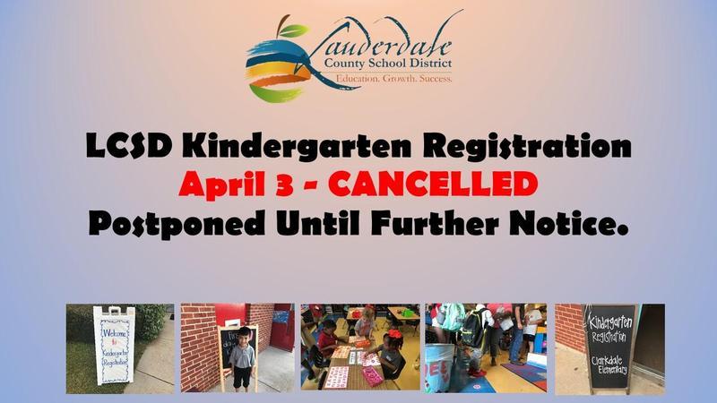LCSD Kindergarten Registration Postponed Flyer