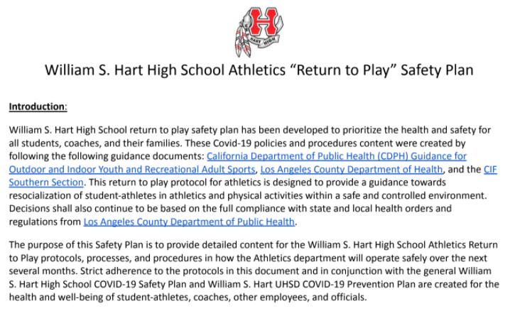 Return to Play Safety Plan
