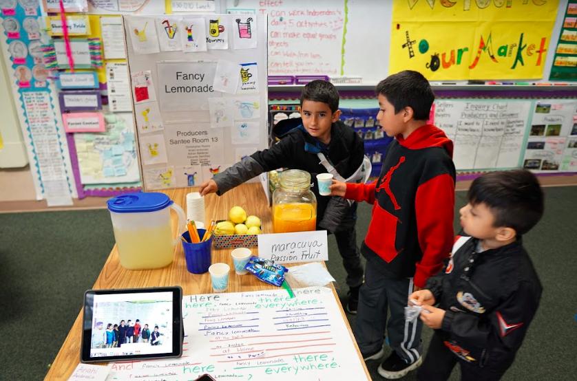 students show lemonade stand