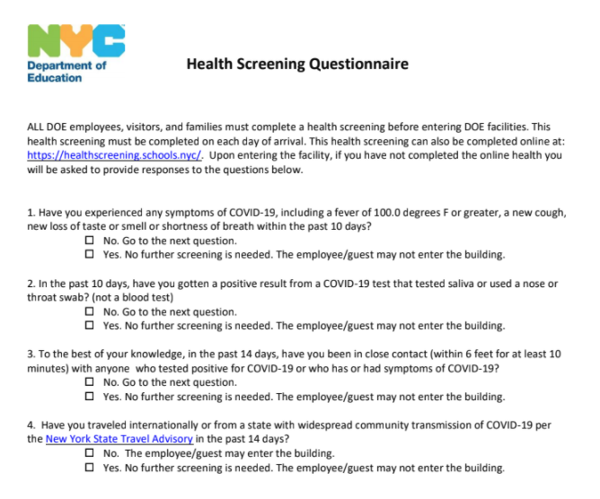 Paper Version of Health Screening