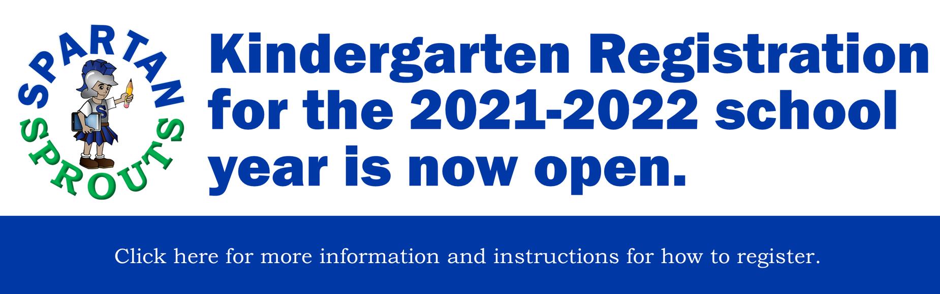 Kindergarten Registration 21-22 Banner Image
