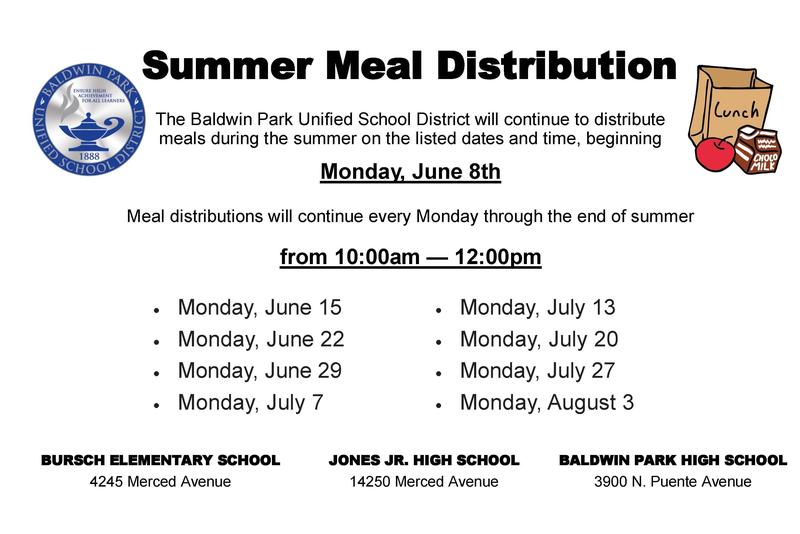 BPUSD will continue to distribute meals every Monday during the summer from 10 a.m. to noon.