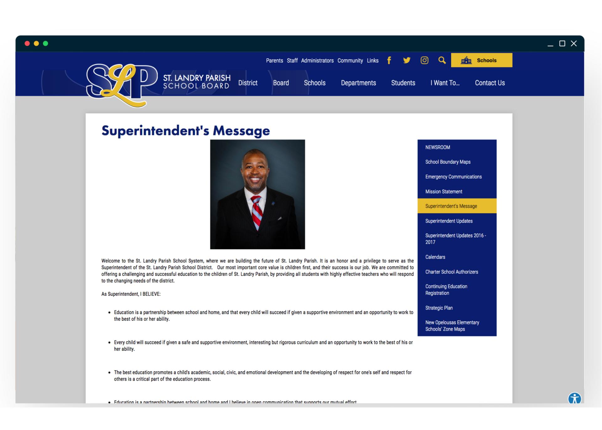 St. Landry Parish School Board Superintendent's Message Landing Page