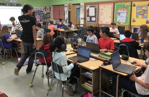 Marisa Truselo's 5th grade class received a visit from Code Ninjas, a Westfield-based coding center for children, during Computer Science Education Week.  The class worked collaboratively to create a multiplayer soccer game with a goalie and a kicker.