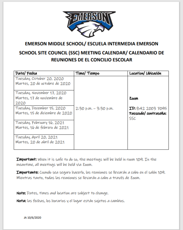 SCHOOL SITE COUNCIL (SSC) MEETING CALENDAR/ CALENDARIO DE REUNIONES DE EL CONCILIO ESCOLAR