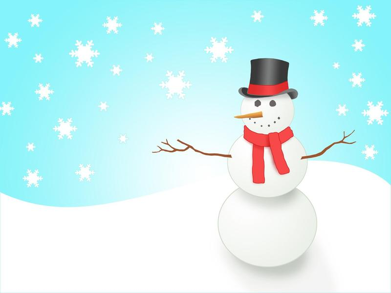 Image of a snowman and falling snow