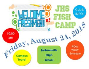 flyer about freshman camp at jhs