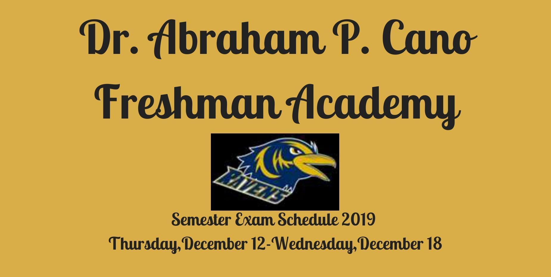 Semester Exam Schedule 2019