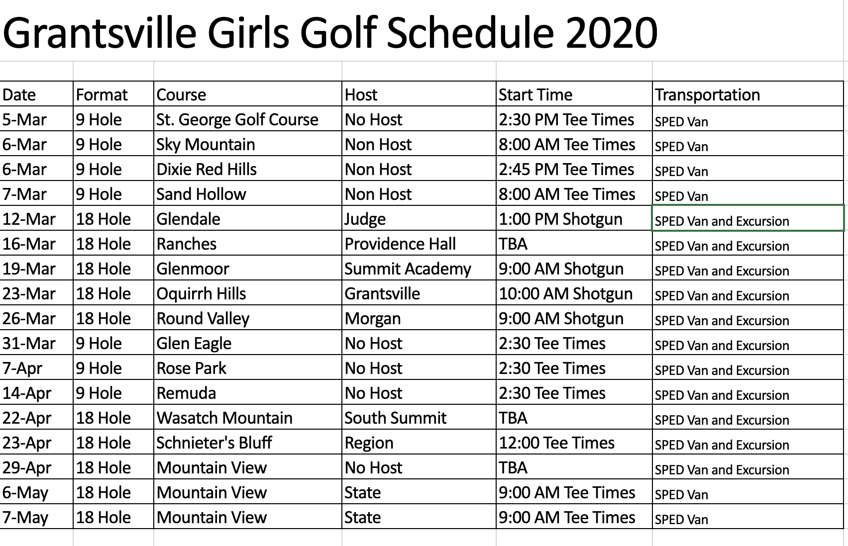 Picture of girls golf schedule