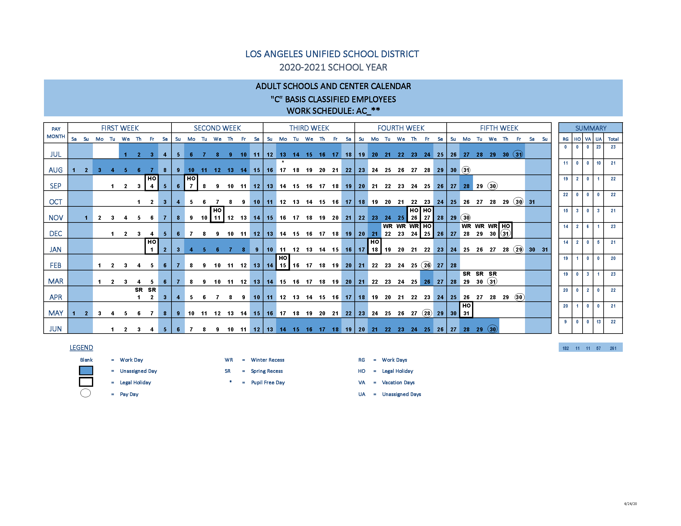 2020-2021 Classified Adult Schools and Centers Calendar
