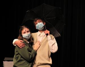 Annebelle Rickert and Zach Maring rehearse a scene.