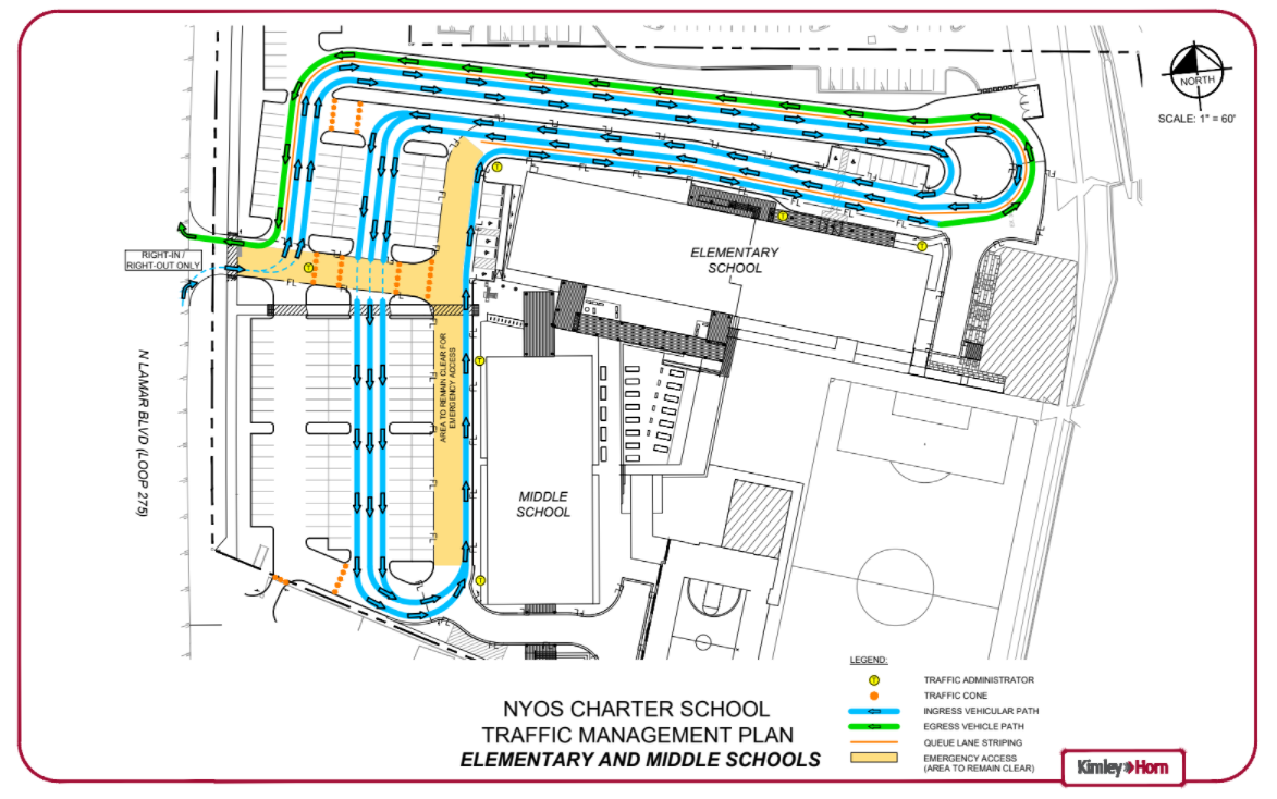 Elementary drop off and pick up map