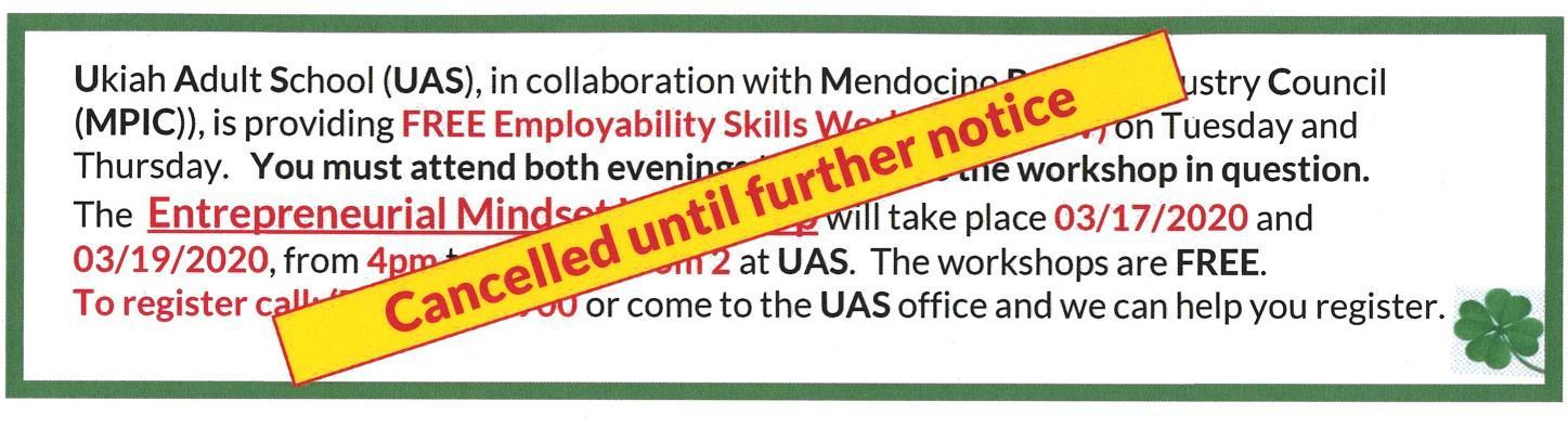 Employability Skills Workshops cancelled until further notice
