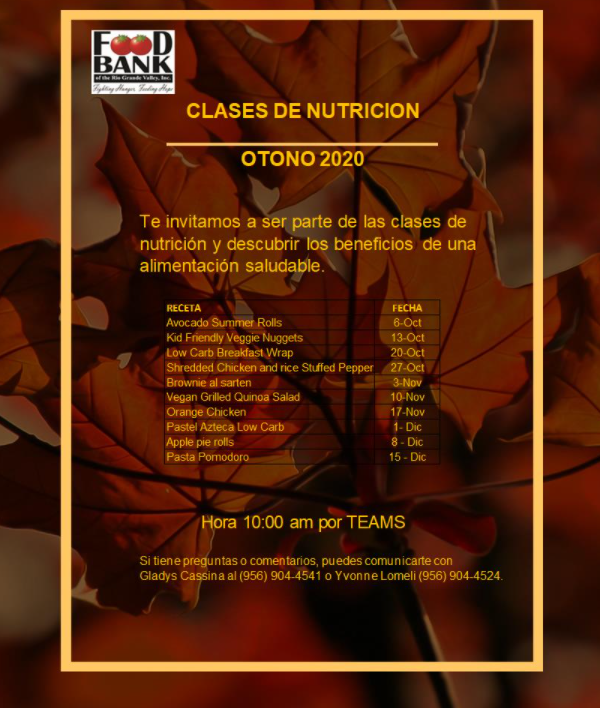 Virtual Nutrition Classes/ Clases Virtuales de Nutricion Featured Photo