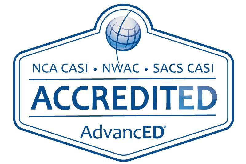 AdvancED accreditation seal with logo