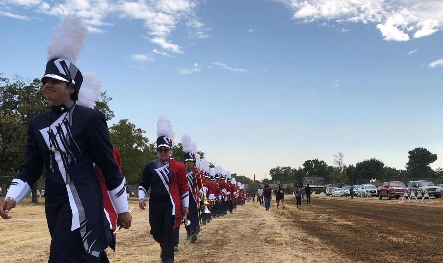 picture of band marching