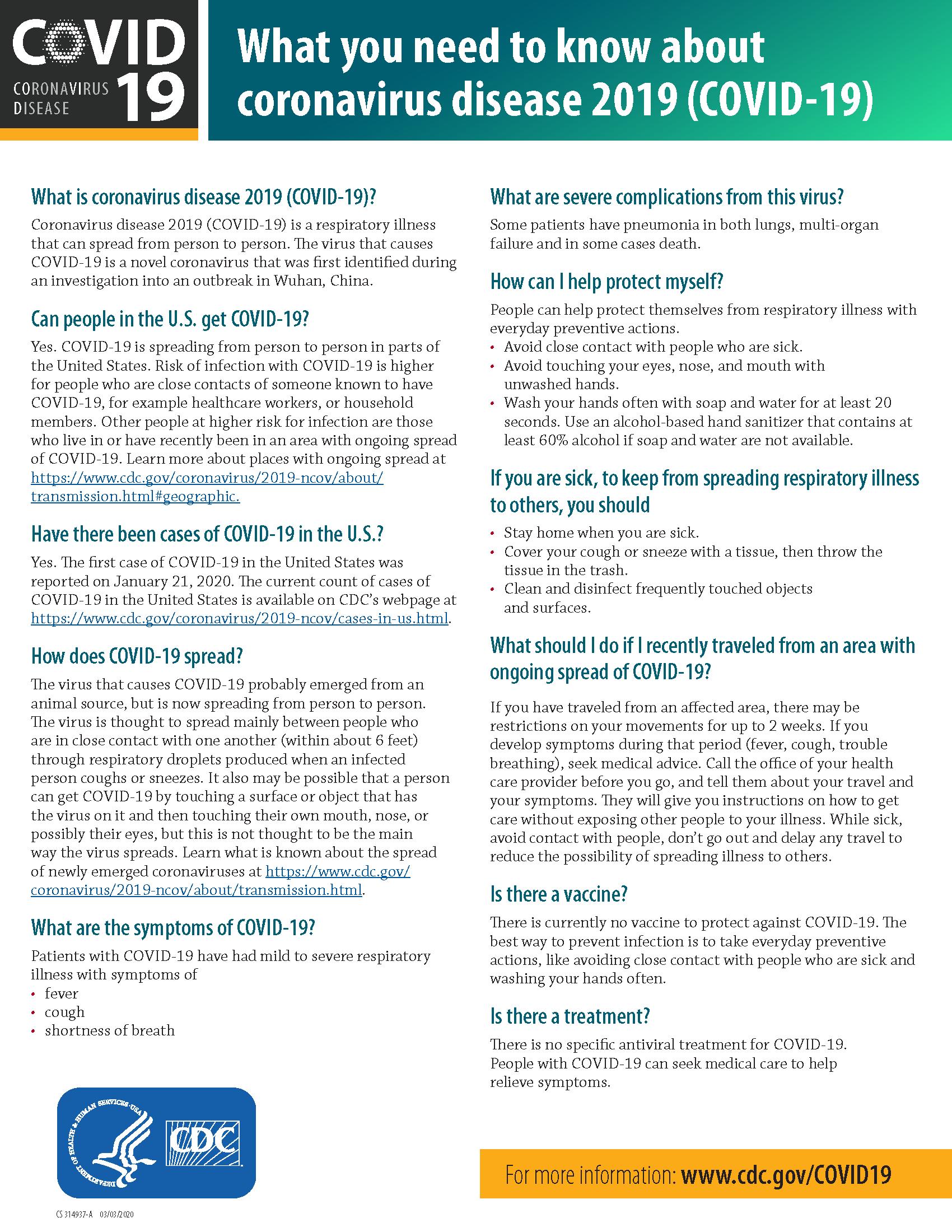 COVID factsheet