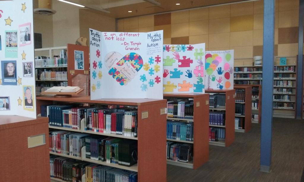 Student work in the Library