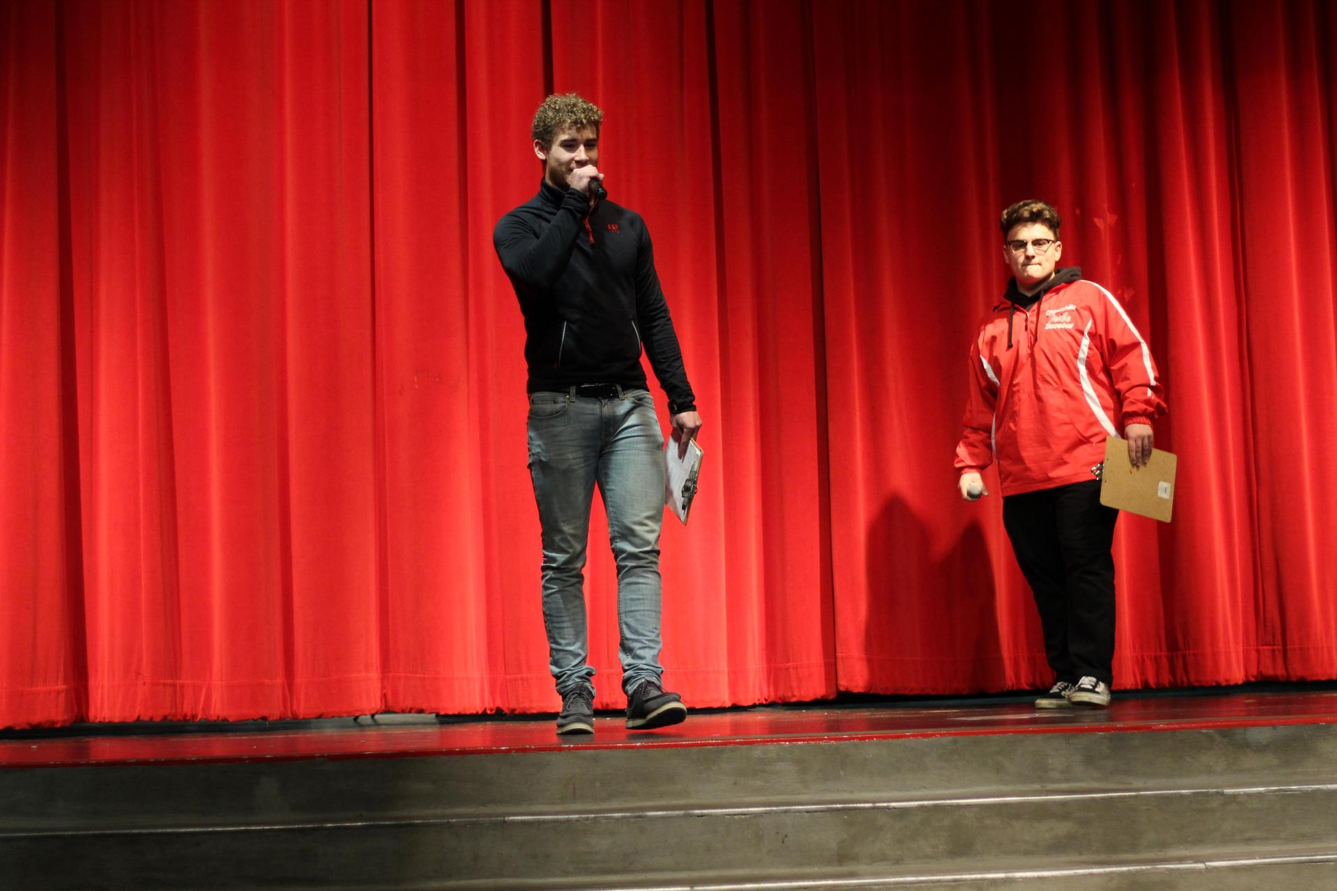 MCs Noah Linhares and Cole Crawford at the NSL Talent show.