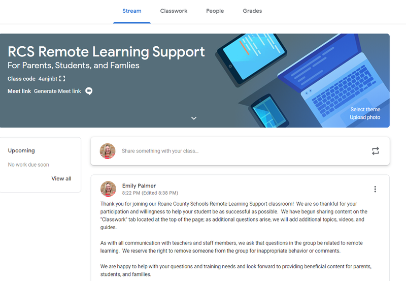 screen shot of Google Classroom Remote Learning Support header