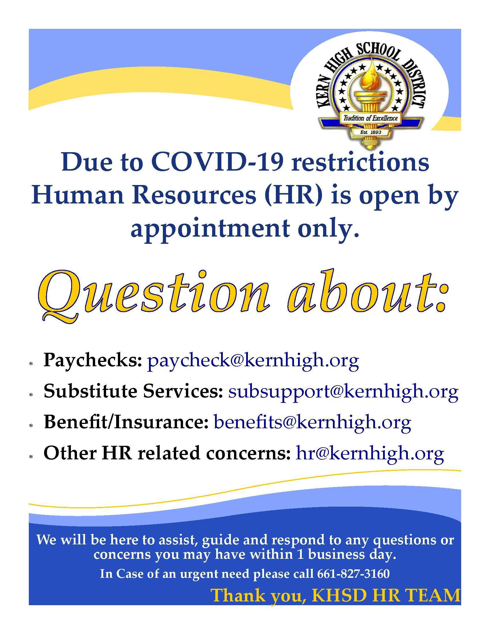 HR Appointment Notice and Contact