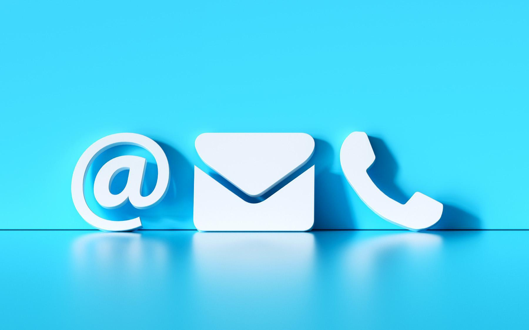 E-mail, phone, and mail icons against a blue backdrop