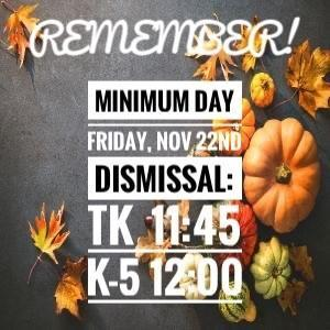 Minimum Day Friday 11/22