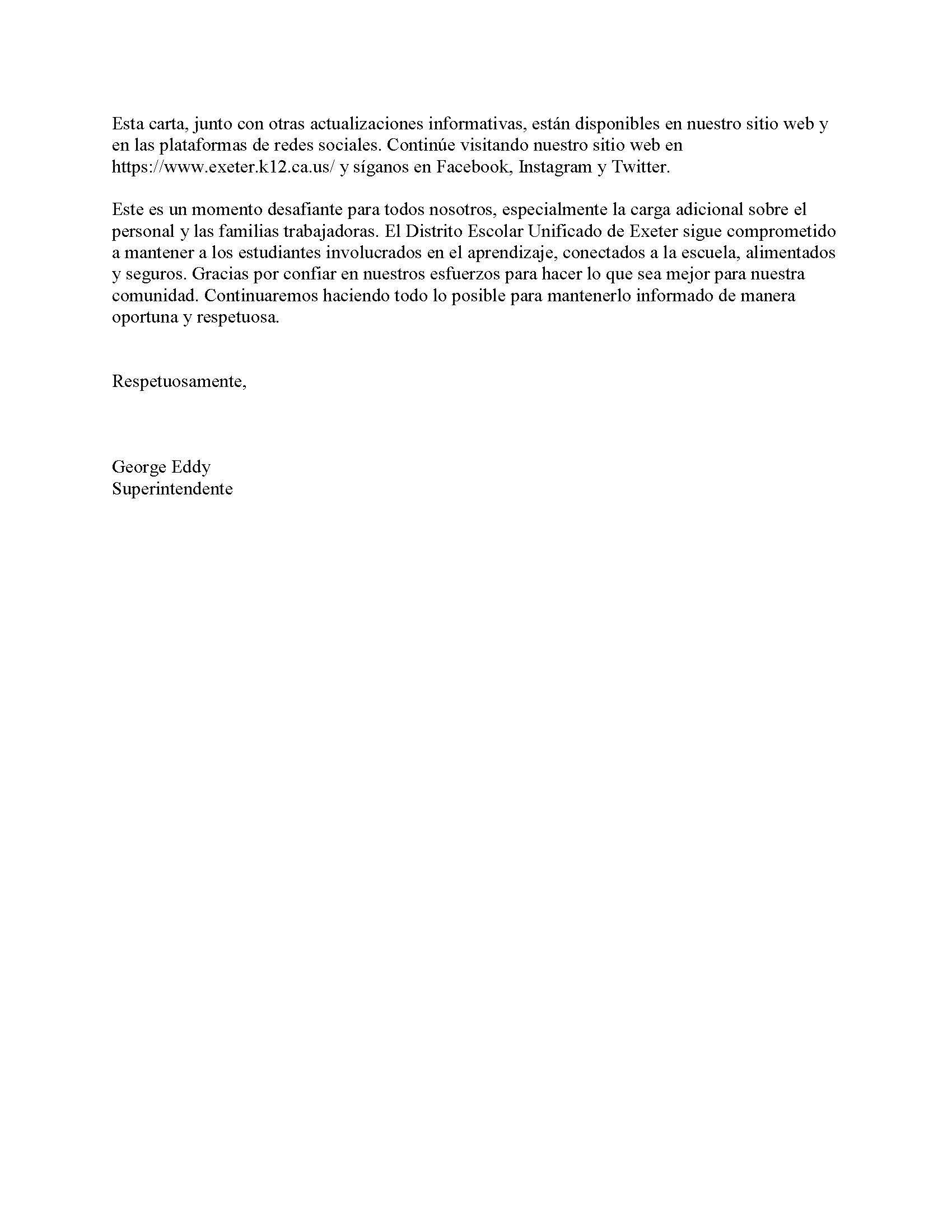 EUSD Superintendent's Community Letter- Spanish page 4