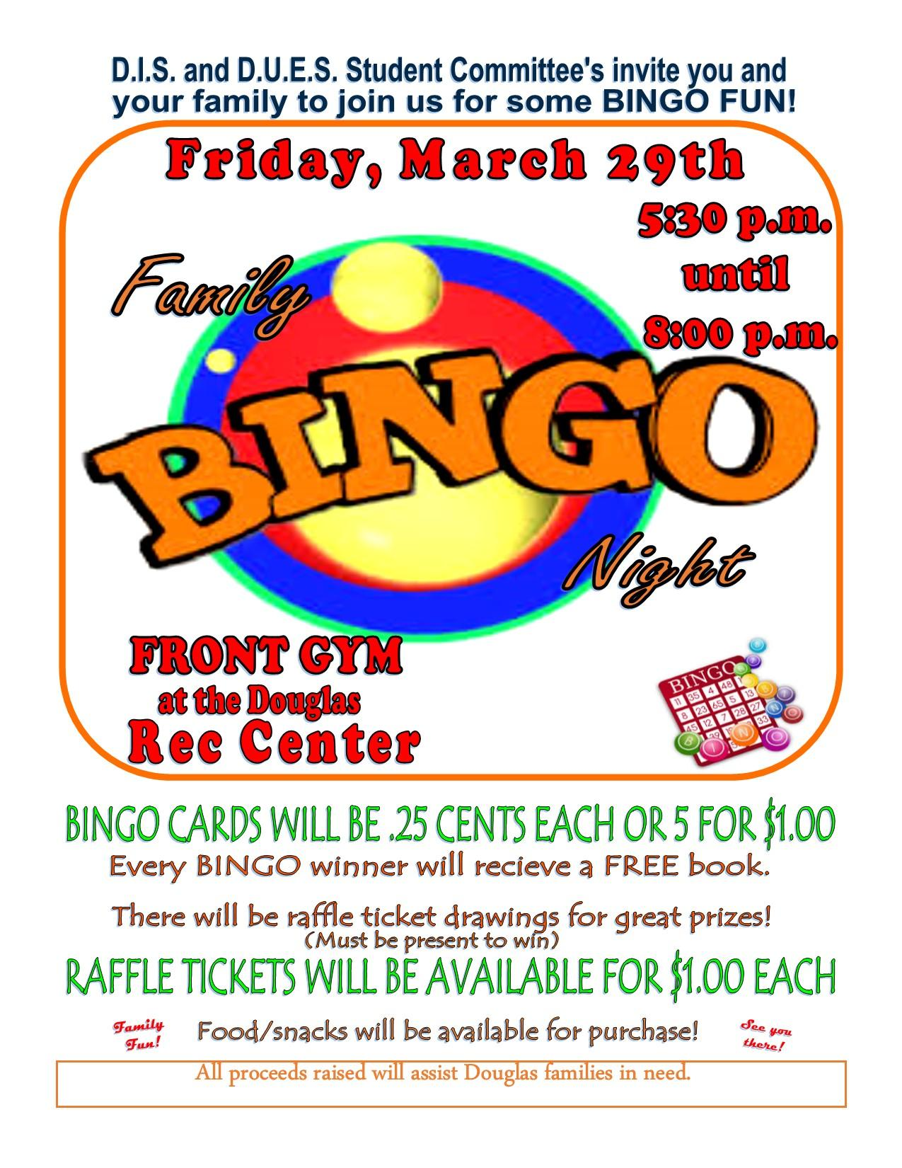 Image of flyer for Family Bingo night on Friday, March 29, 2019
