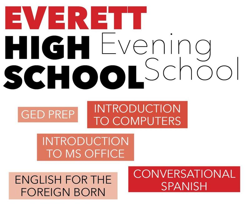 Text graphic in shades of red listing evening school courses
