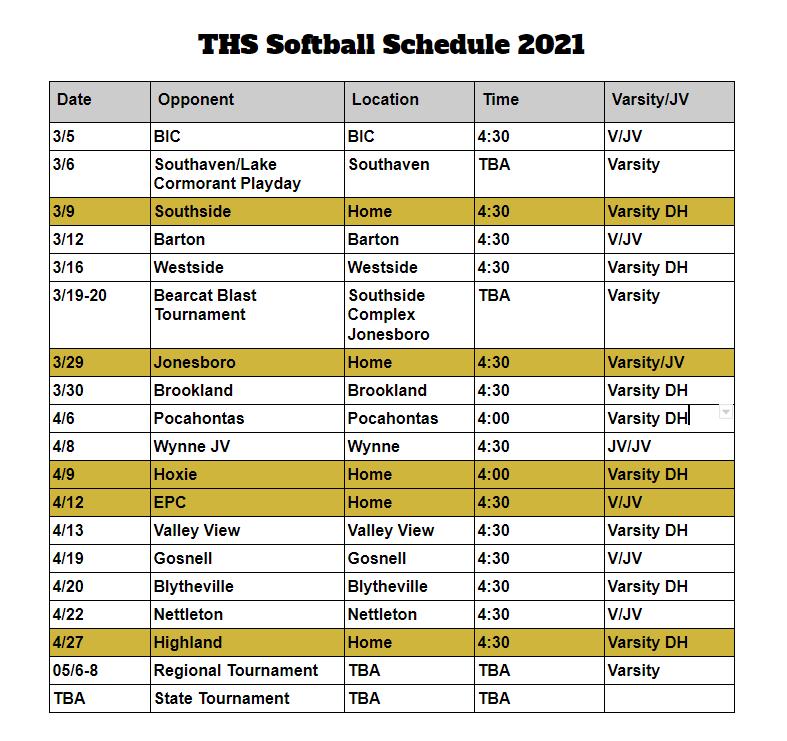 softball schedule 2021
