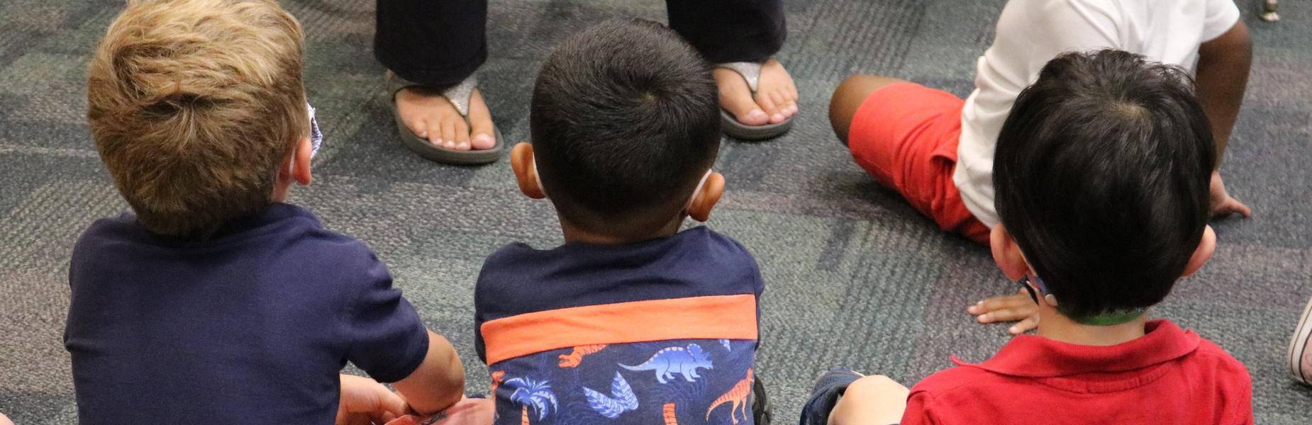 Preschoolers enjoy listening to a story during an Extended School Year (ESY) program in Westfield Public Schools.