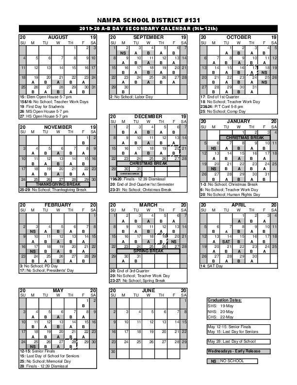 A B Calendar