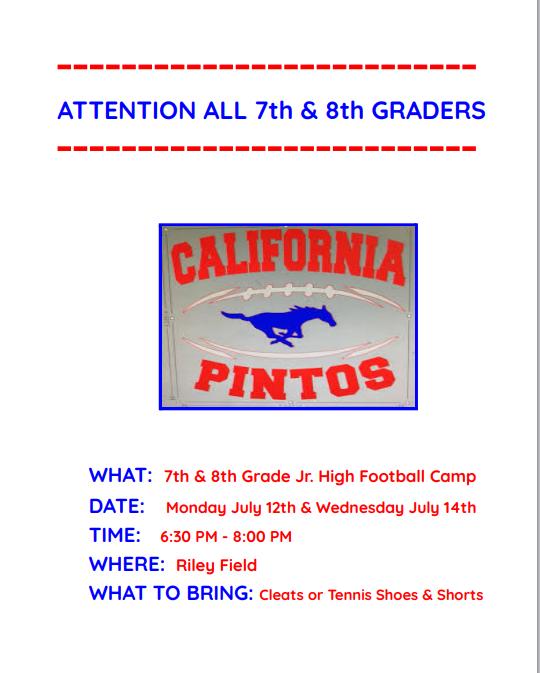 7th and 8th Grade Football Camp Thumbnail Image