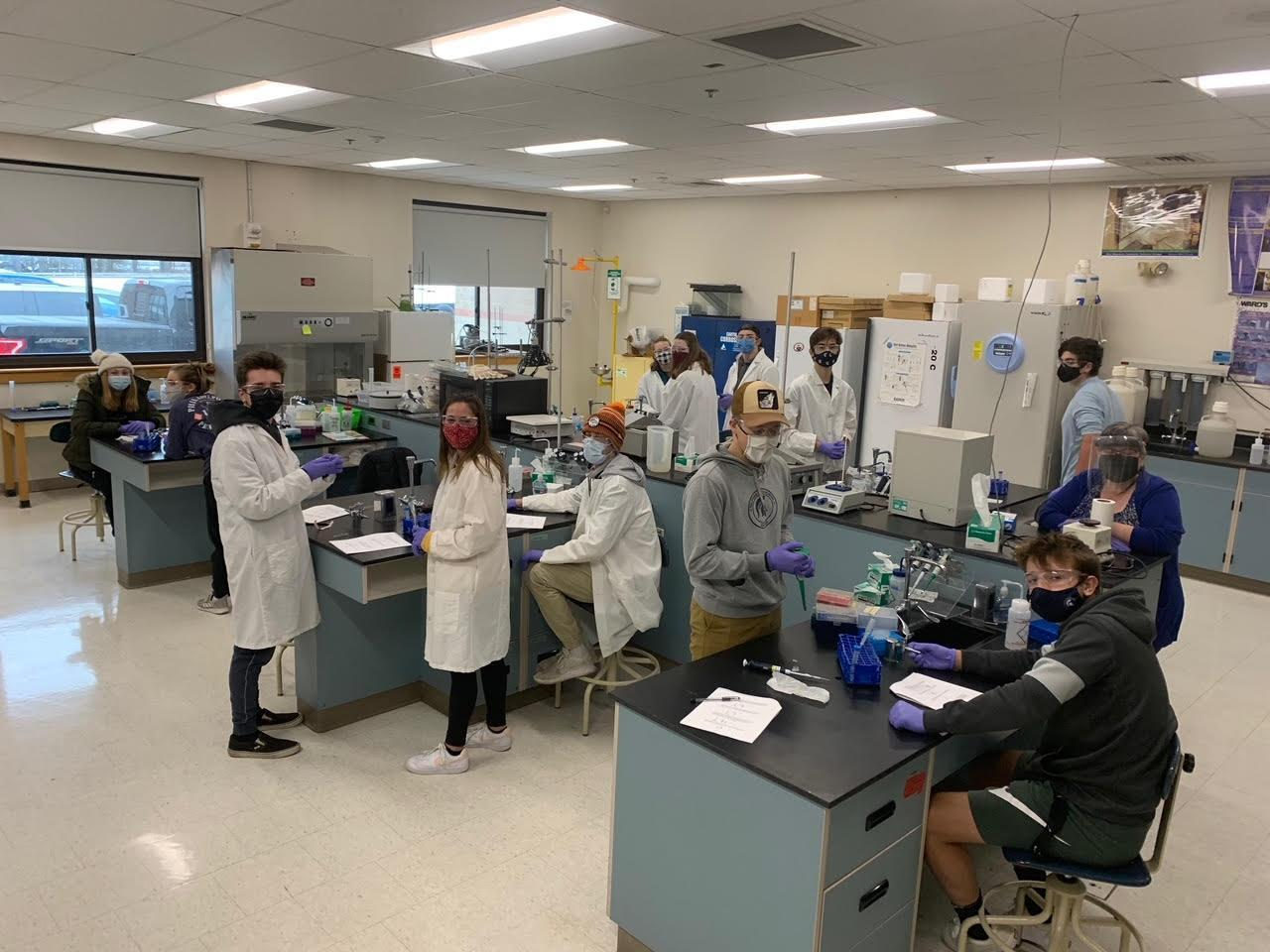 students working in biotech lab