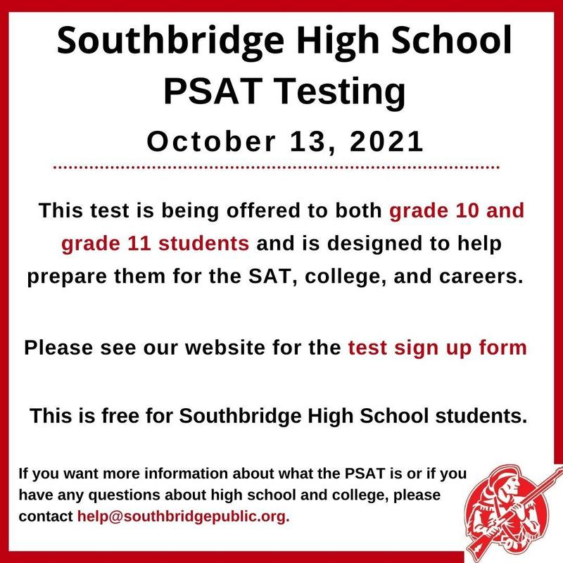 A graphic in English with information about PSAT tests. All text in the graphic is also in the body of the post.