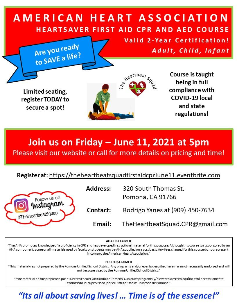 CPR and AED flyer, June 11, 2021