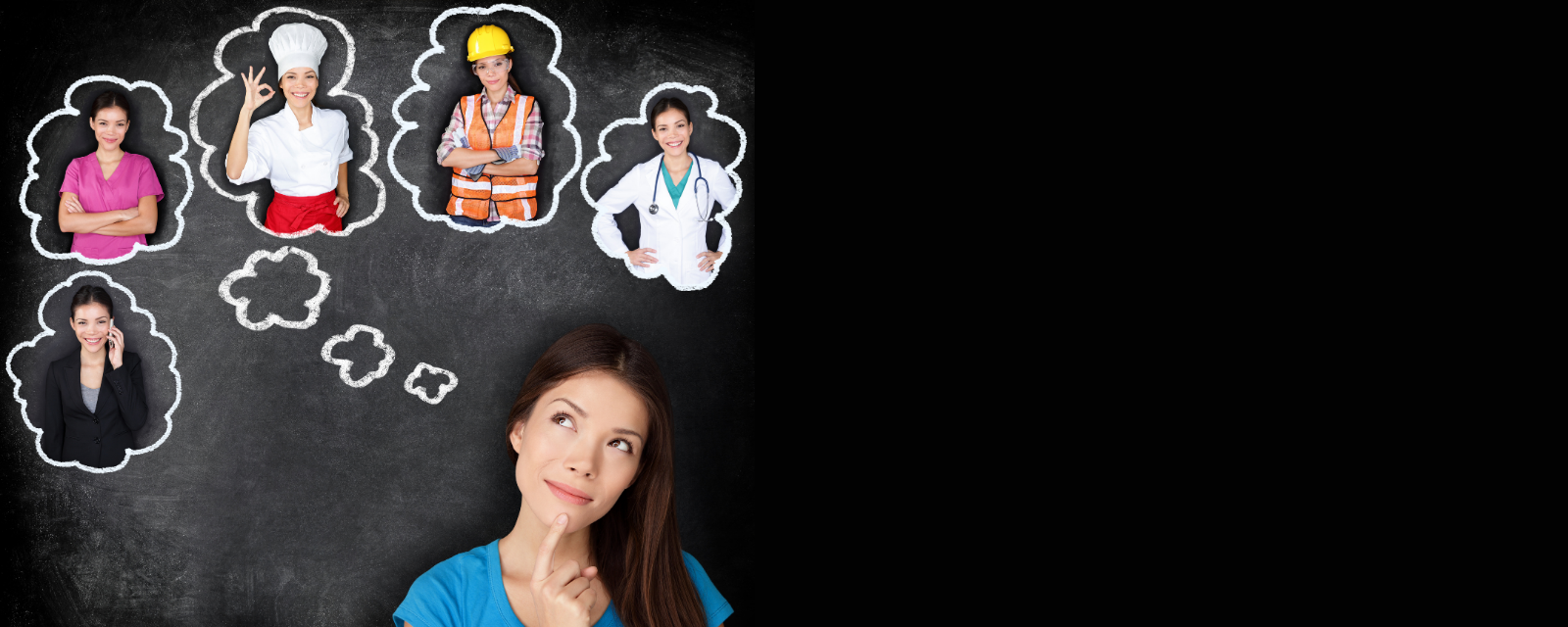 girl with bubbles above head containing her in different outfits representing different careers