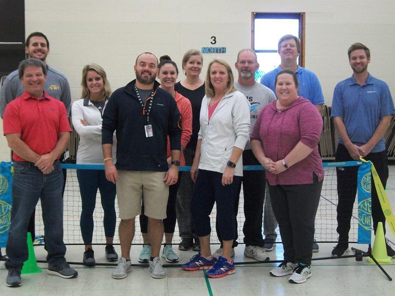 Elementary PE Teachers in the multipurpose room at Pilot.
