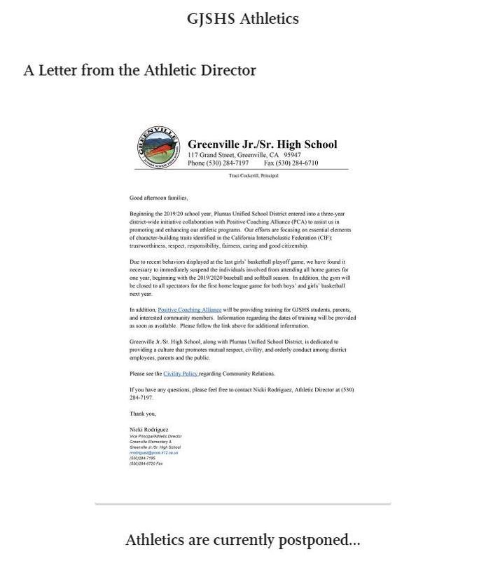 GJSHS Athletic Director letter